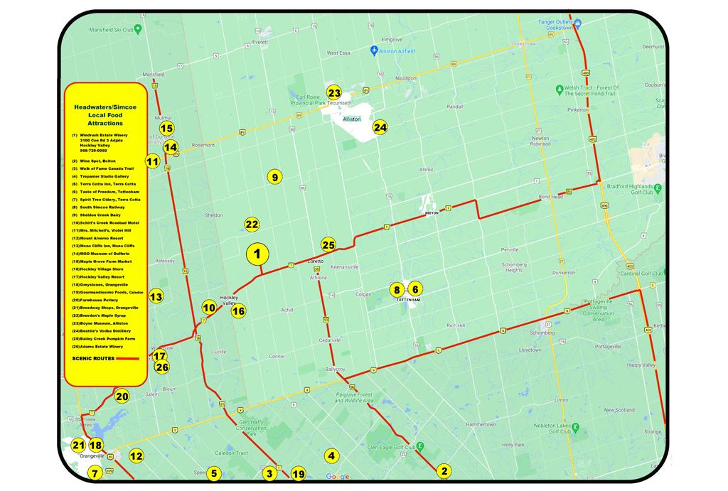 Simcoe County Tour Map